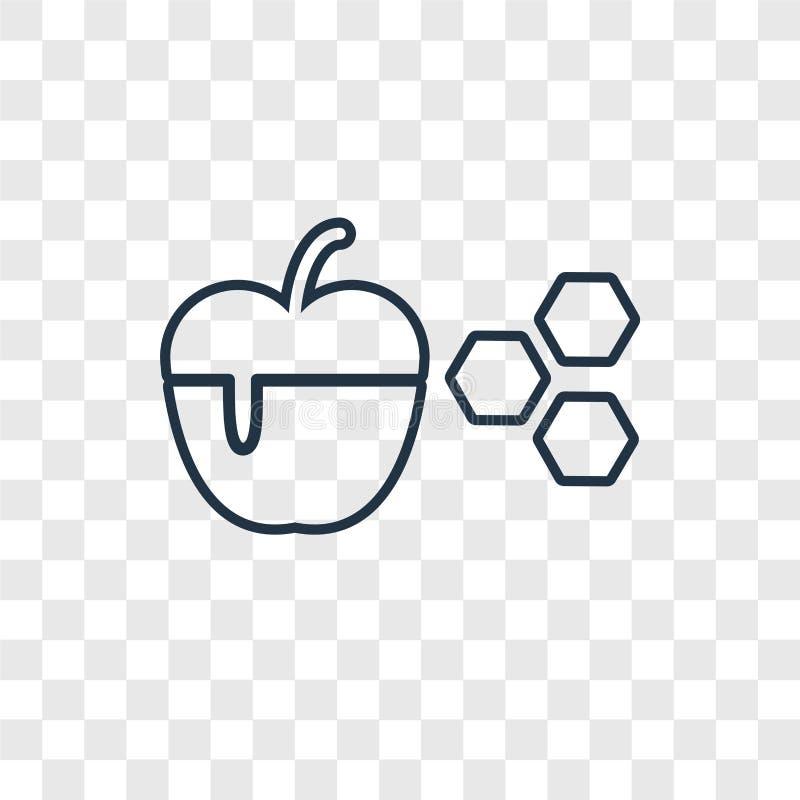 Icona lineare di vettore di concetto del miele e di Apple isolata su transpare royalty illustrazione gratis