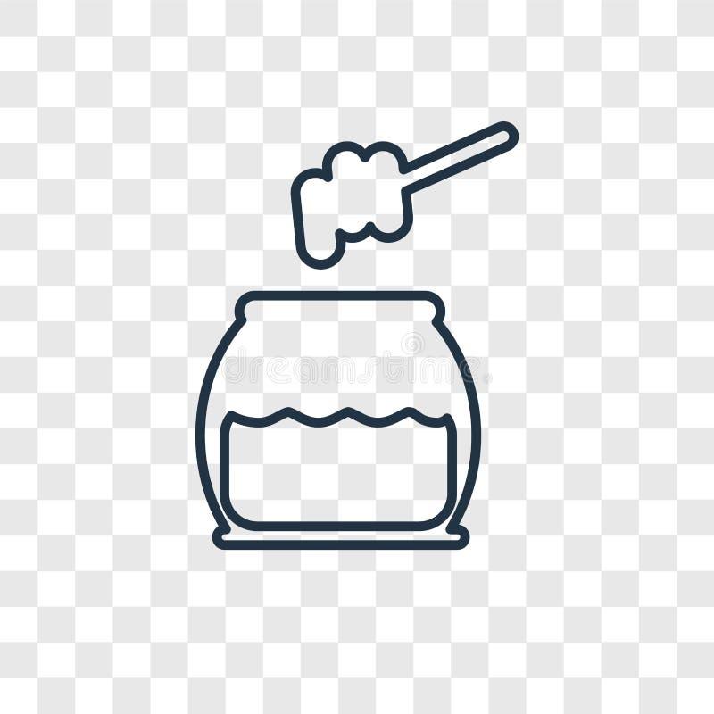 Icona lineare di vettore di concetto del miele isolata sul backgro trasparente illustrazione vettoriale