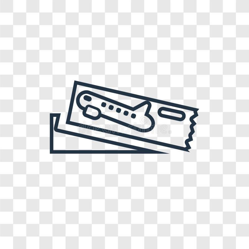 Icona lineare di vettore di concetto del passaggio di imbarco isolata su trasparente illustrazione di stock