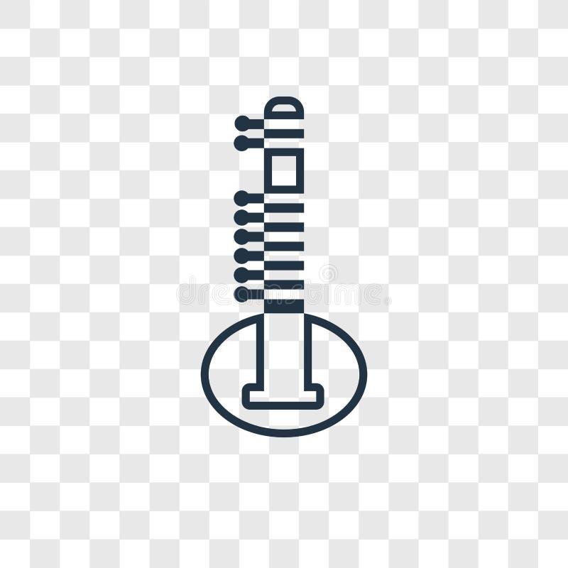 Icona lineare di vettore di concetto del sitar isolata sul backgro trasparente illustrazione di stock