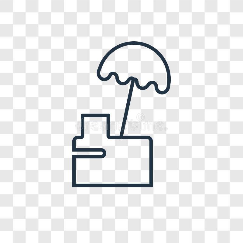 Icona lineare di vettore di concetto del supporto dell'alimento isolata sulle sedere trasparenti illustrazione vettoriale