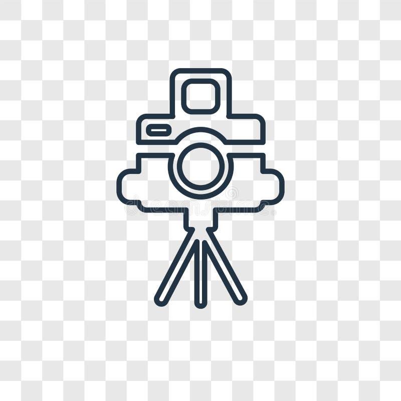 Icona lineare di vettore di concetto del supporto della macchina fotografica isolata su trasparente illustrazione di stock
