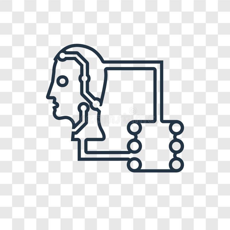 Icona lineare di vettore di concetto del trasferimento di dati isolata su trasparente royalty illustrazione gratis