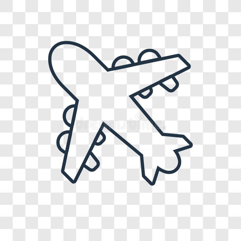 Icona lineare di vettore di concetto dell'aeroplano isolata sul BAC trasparente illustrazione di stock