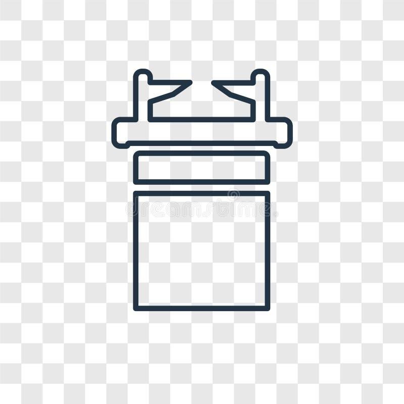 Icona lineare di vettore di concetto dell'Arca dell'Alleanza isolata sul tran illustrazione vettoriale