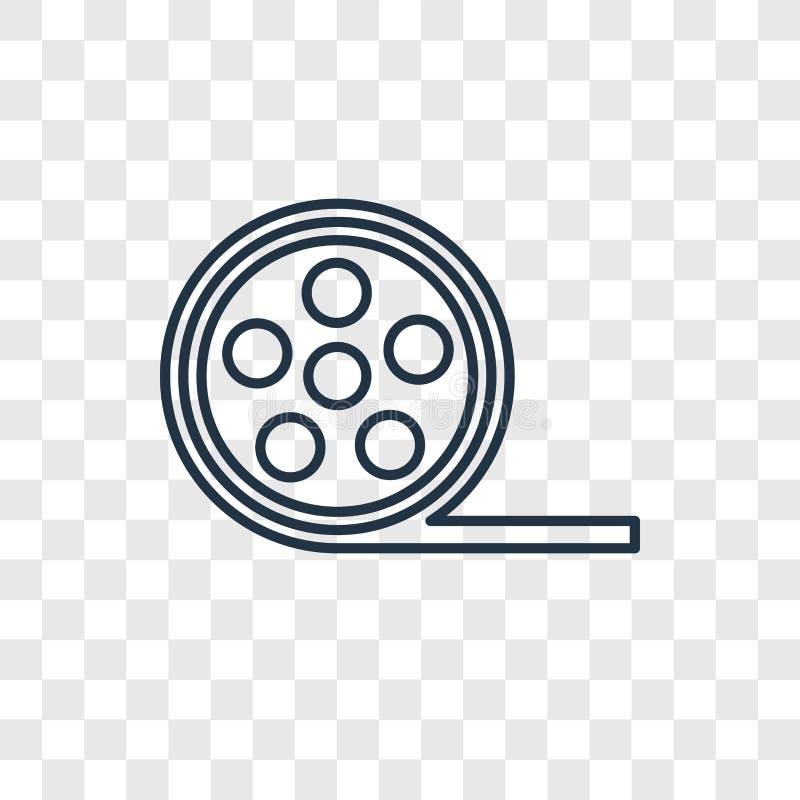 Icona lineare di vettore di concetto della bobina di film isolata sul BAC trasparente illustrazione di stock
