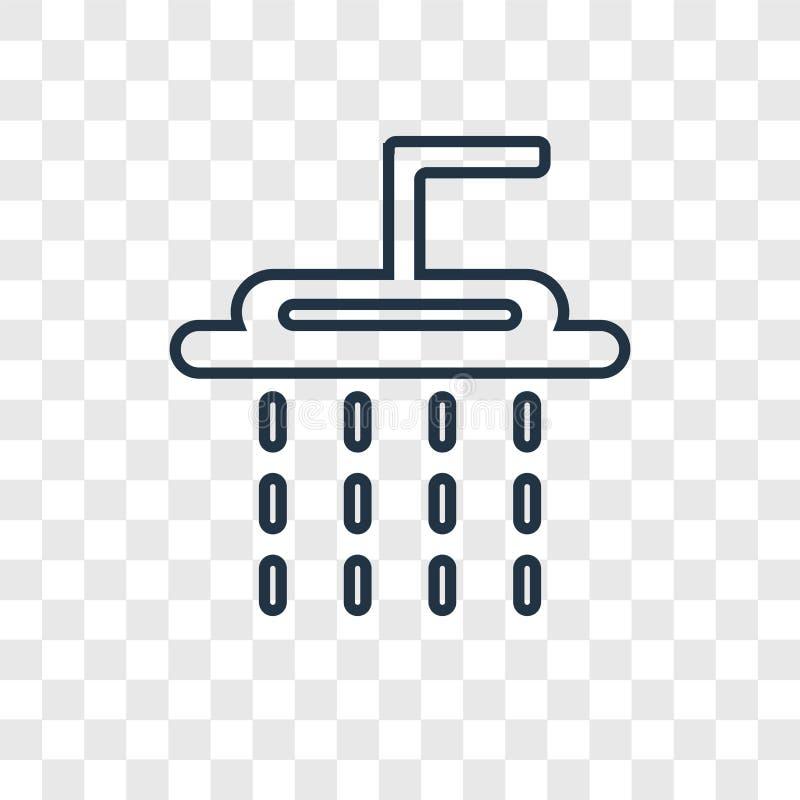 Icona lineare di vettore di concetto della doccia isolata su backgr trasparente royalty illustrazione gratis