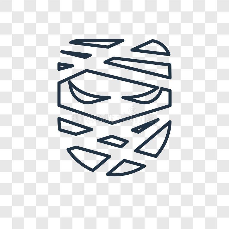 Icona lineare di vettore di concetto della mummia isolata sul backgro trasparente illustrazione vettoriale