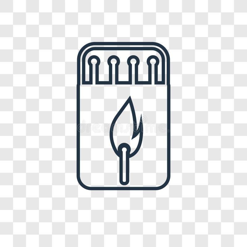 Icona lineare di vettore di concetto della scatola di fiammiferi isolata sulla parte posteriore trasparente illustrazione di stock