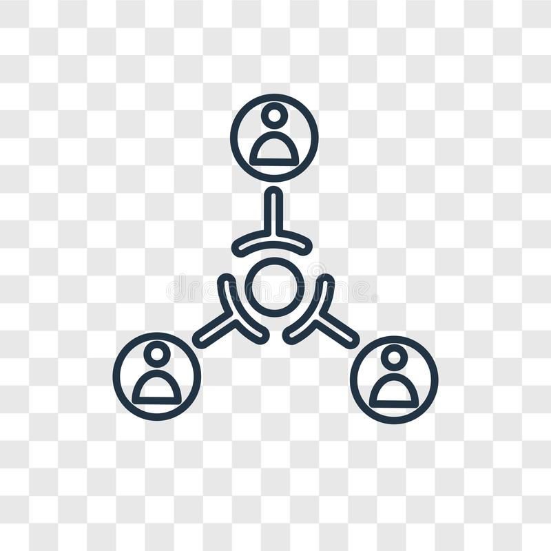 Icona lineare di vettore di concetto della struttura gerarchica isolata sul TR illustrazione vettoriale