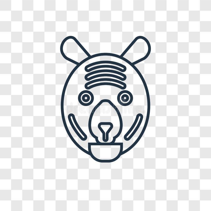 Icona lineare di vettore di concetto della tigre isolata sul backgro trasparente royalty illustrazione gratis