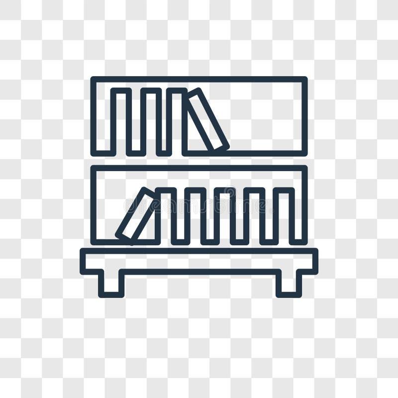 Icona lineare di vettore di concetto dello scaffale per libri sul BAC trasparente illustrazione vettoriale