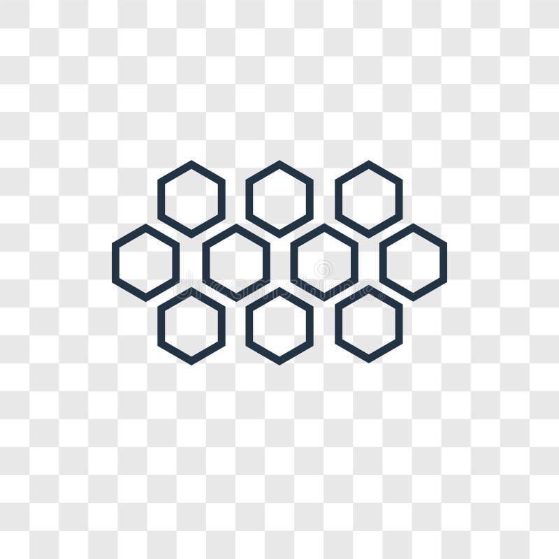 Icona lineare di vettore di concetto di esagoni isolata sulla parte posteriore trasparente illustrazione di stock
