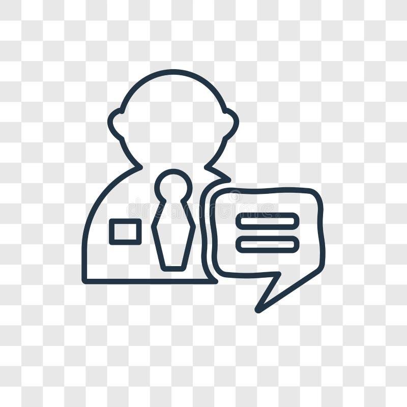Icona lineare di vettore di concetto di intervista isolata sul BAC trasparente illustrazione di stock