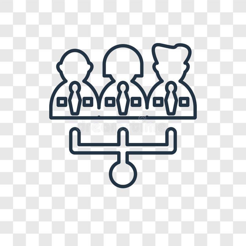 Icona lineare di vettore di concetto di lavoro di squadra isolata sulla parte posteriore trasparente illustrazione vettoriale