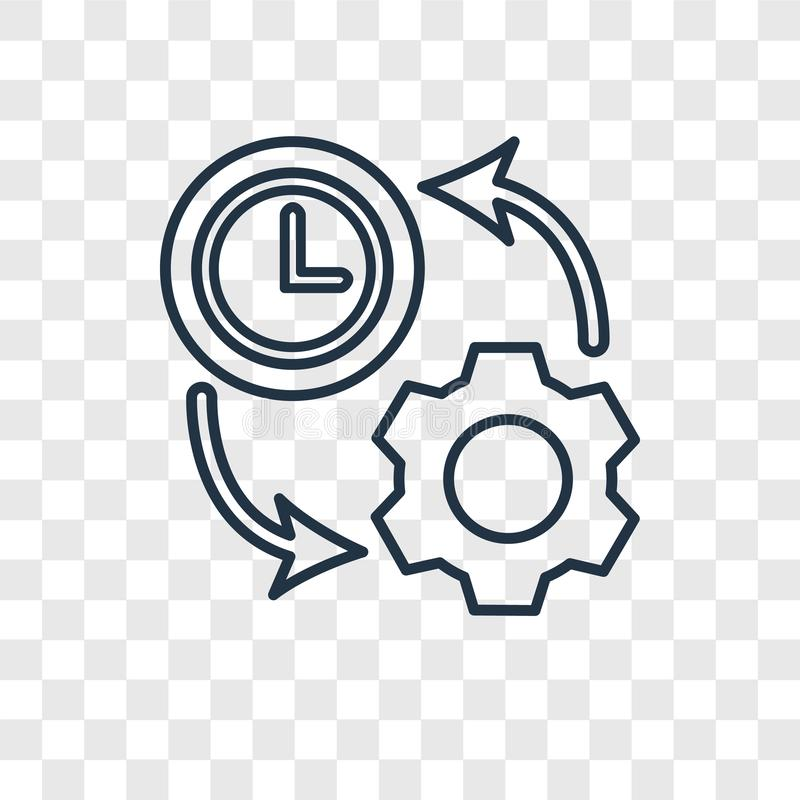 Icona lineare di vettore di concetto di produttività isolata su trasparente illustrazione vettoriale