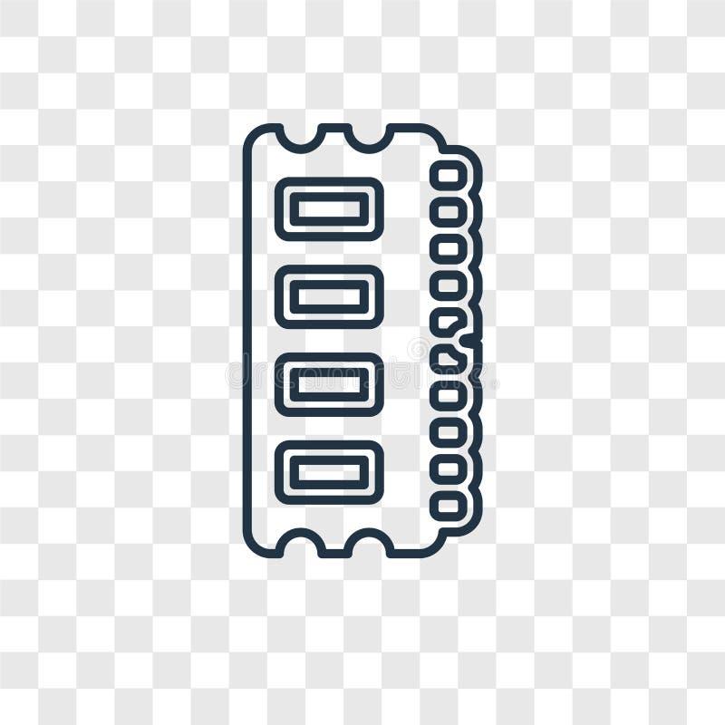 Icona lineare di vettore di concetto di Ram Memory sulle sedere trasparenti royalty illustrazione gratis