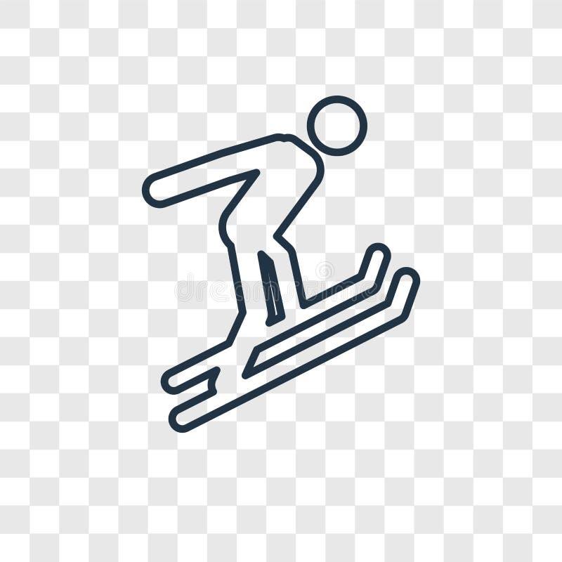 Icona lineare di vettore di concetto di Ski Jump isolata sulla parte posteriore trasparente illustrazione di stock