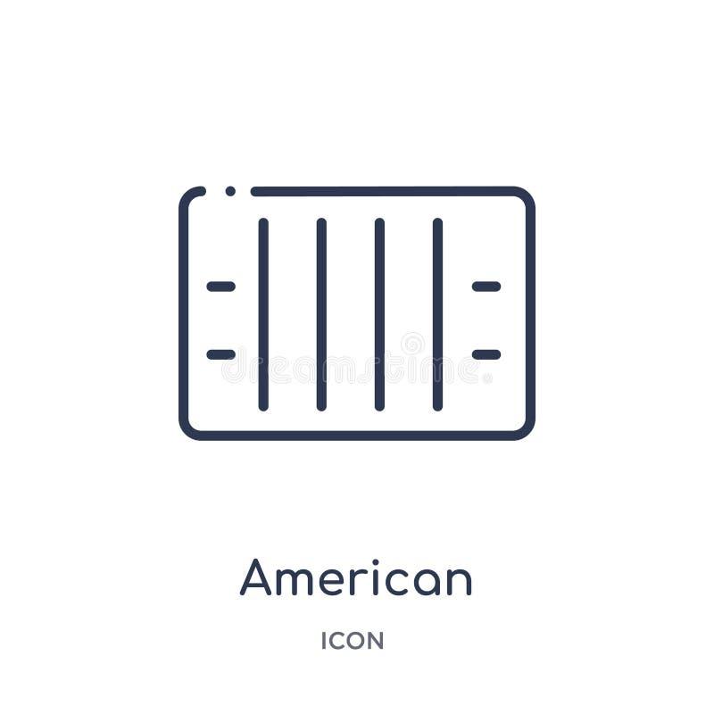 Icona lineare di vista superiore del campo di football americano dalla raccolta del profilo di football americano Linea sottile v royalty illustrazione gratis