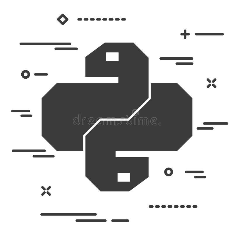 Icona lineare piana di codice del pitone Simbolo d'avanguardia di vettore del serpente per il web illustrazione vettoriale