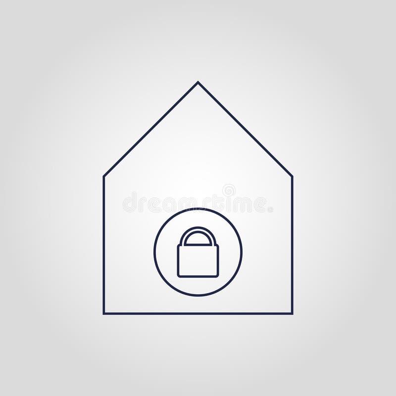 Icona lineare piana di vettore isolata icona domestica su sicurezza bianca del fondo royalty illustrazione gratis