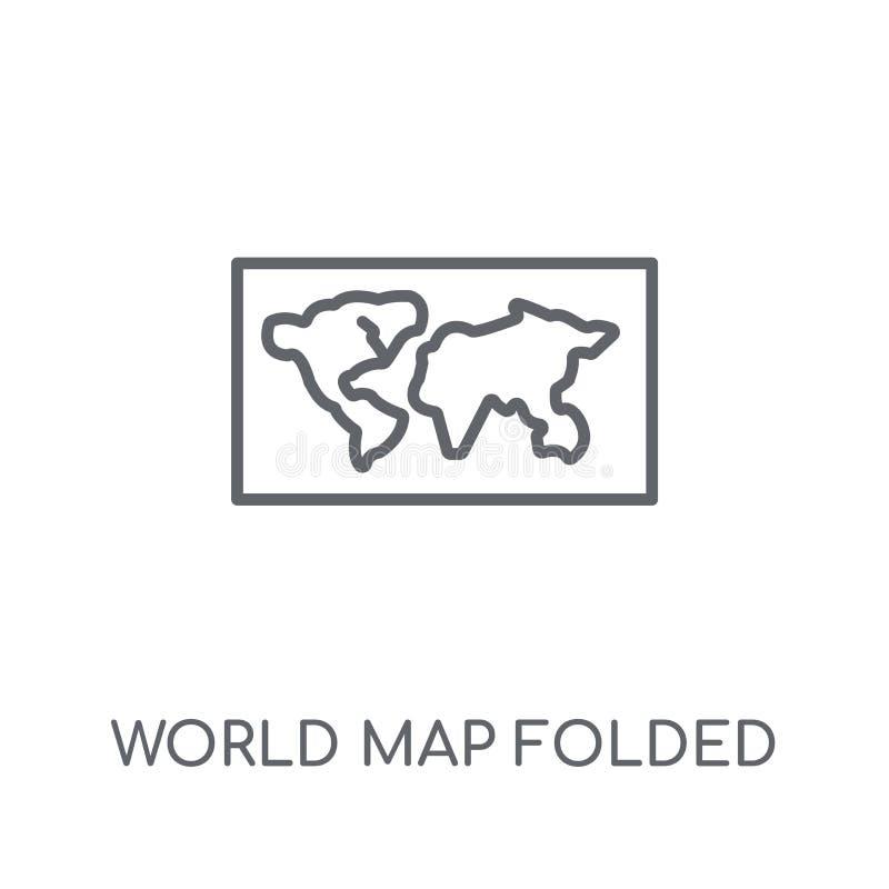 Icona lineare piegata della mappa di mondo Lo piegato moderno della mappa di mondo del profilo royalty illustrazione gratis