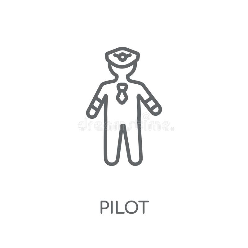 Icona lineare pilota Concetto moderno di logo del pilota del profilo sulle sedere bianche royalty illustrazione gratis