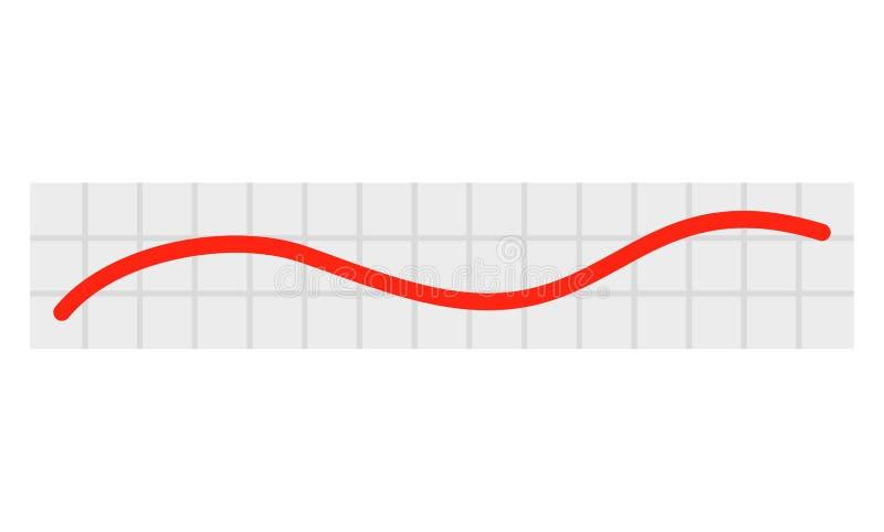 Icona lineare rossa del grafico del grafico, stile piano illustrazione vettoriale