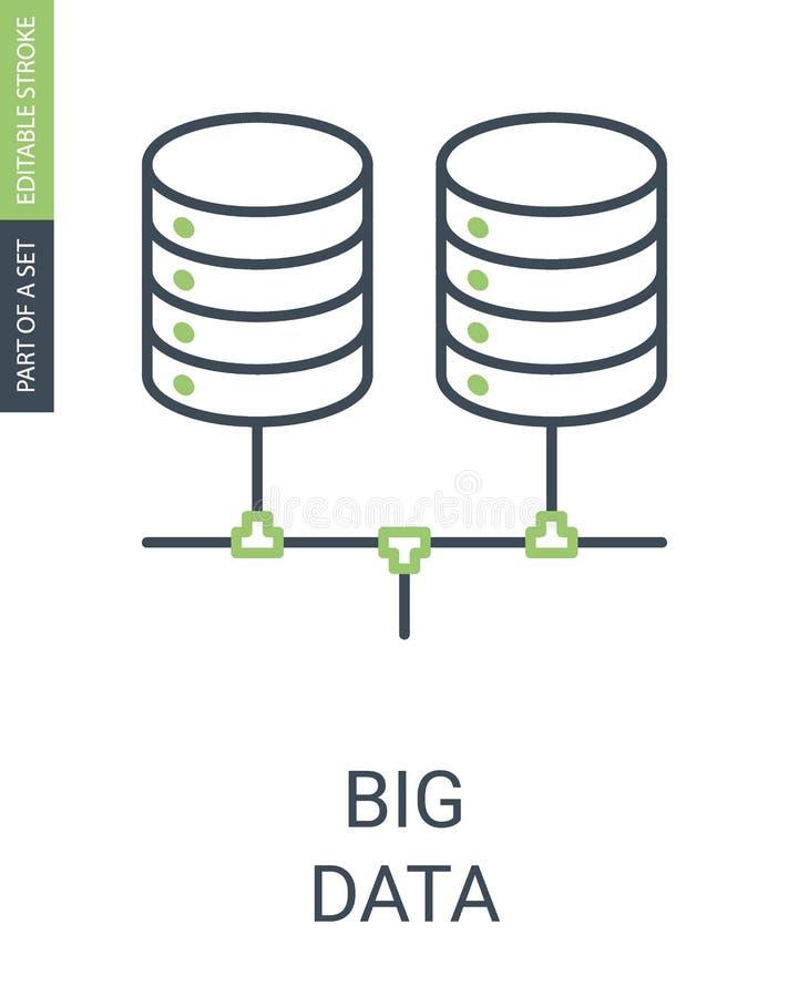 Icona lineare semplice di Big Data con il colpo editabile illustrazione vettoriale