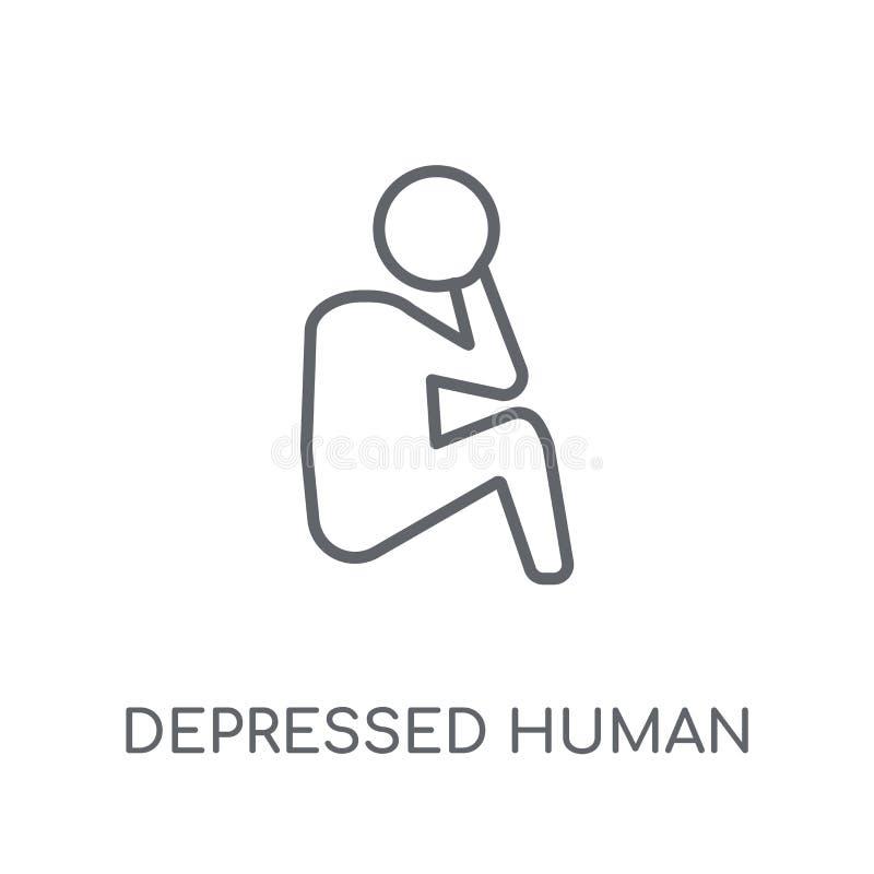 icona lineare umana depressa Logo umano depresso del profilo moderno illustrazione di stock