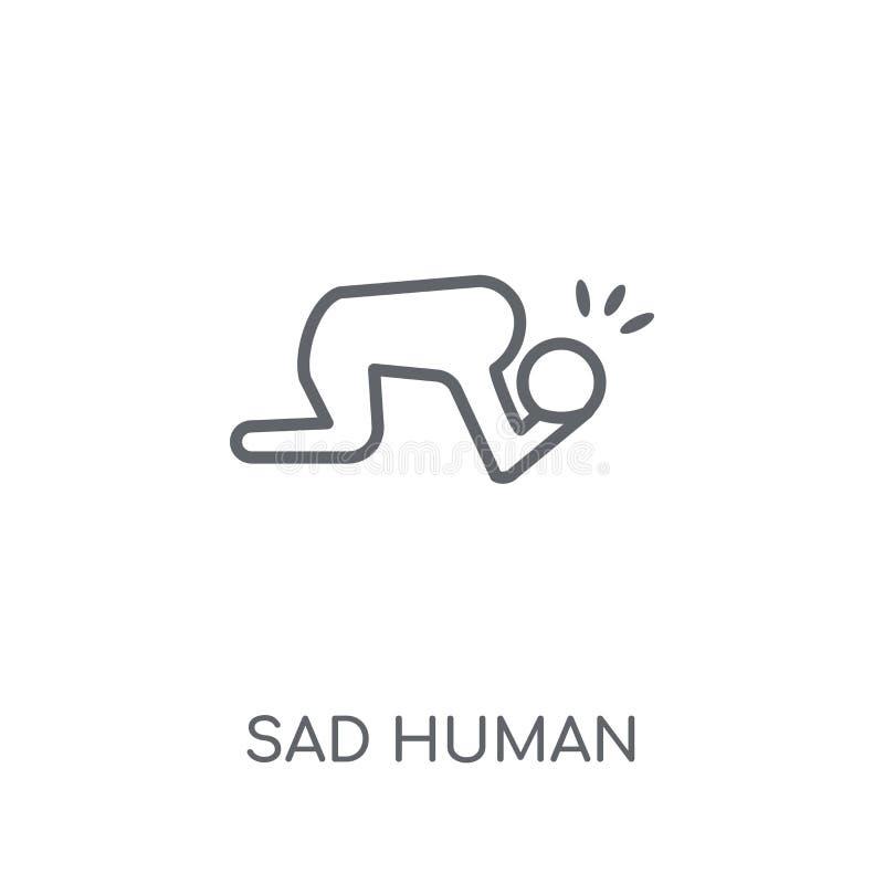 icona lineare umana triste Concetto umano triste di logo del profilo moderno sopra illustrazione vettoriale