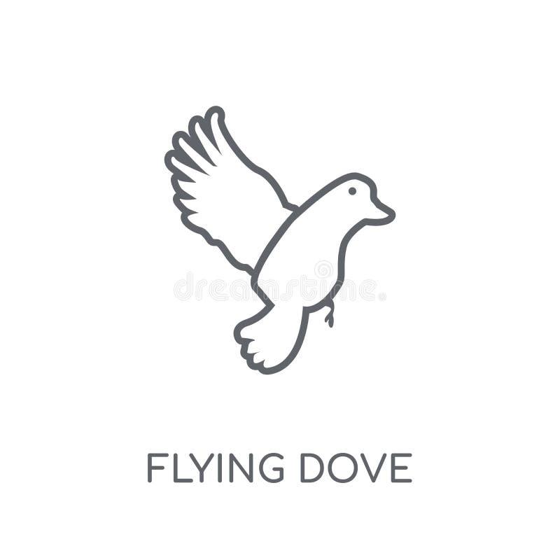 Icona lineare volante della colomba Concetto moderno di logo della colomba di volo del profilo illustrazione di stock