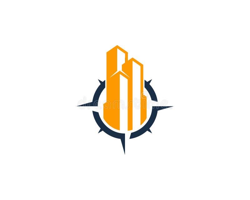 Icona Logo Design Element della bussola dell'ufficio della costruzione illustrazione vettoriale