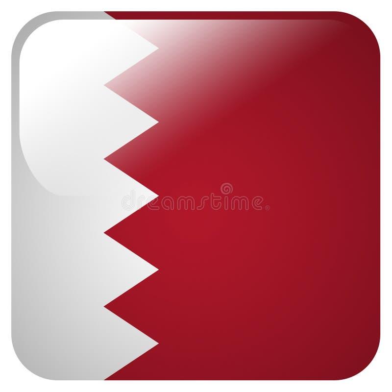 Icona lucida con la bandiera del Bahrain illustrazione vettoriale