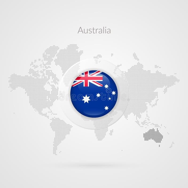 Icona lucida della bandiera dell'Australia Simbolo infographic della mappa di mondo di vettore Modello australiano per l'affare,  illustrazione vettoriale