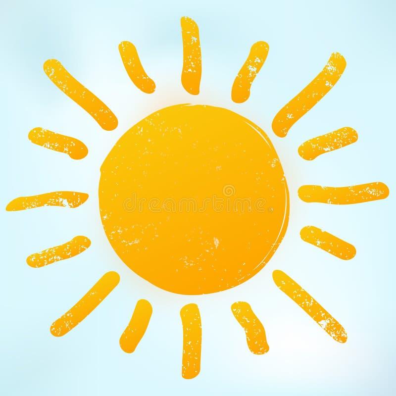 Icona luminosa arancio del sole con i raggi caldi Il simbolo di luce solare è sul fondo del cielo blu illustrazione di stock