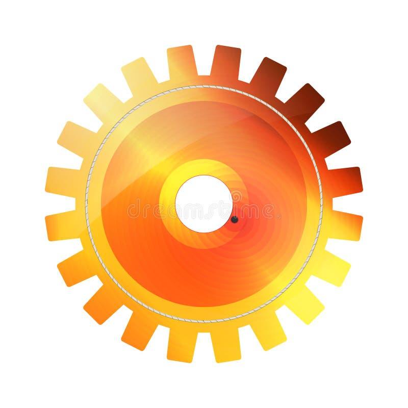 Icona luminosa arancio, rossa e gialla dell'ingranaggio di tecnologia di Digital su fondo bianco Estratto della ruota dentata del illustrazione di stock