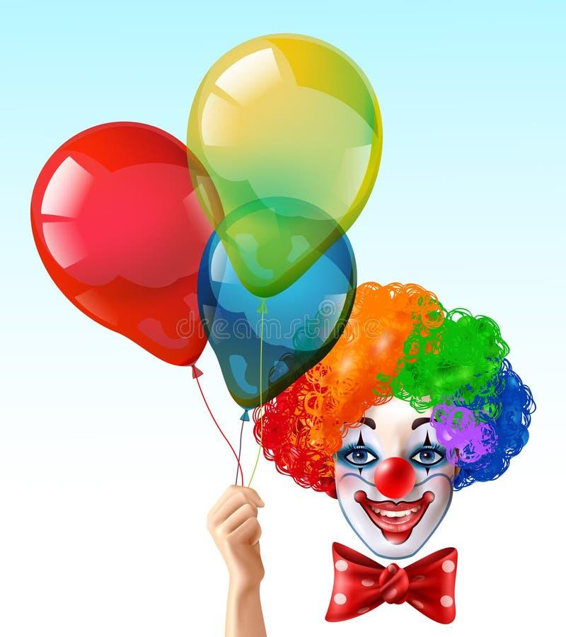 Icona luminosa di Face With Balloons del pagliaccio illustrazione vettoriale