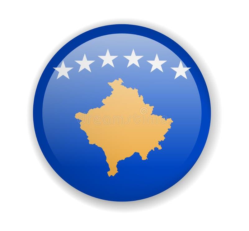 Icona luminosa rotonda della bandiera del Kosovo su un fondo bianco illustrazione vettoriale