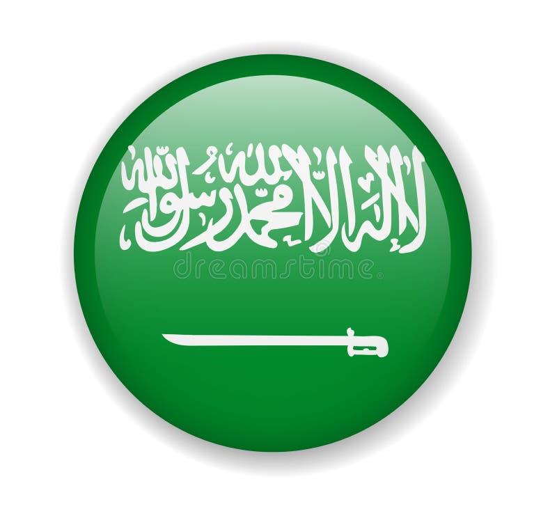 Icona luminosa rotonda della bandiera dell'Arabia Saudita su un fondo bianco illustrazione vettoriale