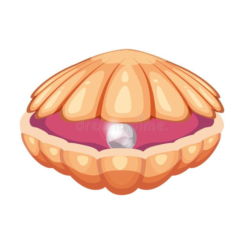 Icona luminosa sveglia della conchiglia del fumetto Coperture variopinte con un simbolo della perla isolate su fondo bianco Stile illustrazione vettoriale
