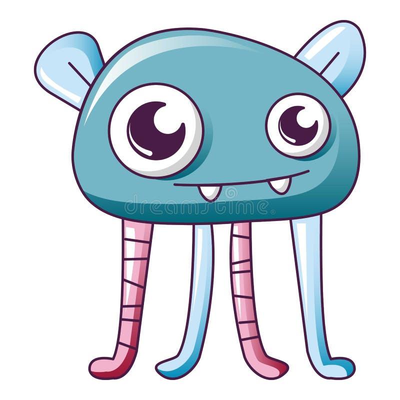 Icona lunga blu del mostro della gamba, stile del fumetto illustrazione di stock