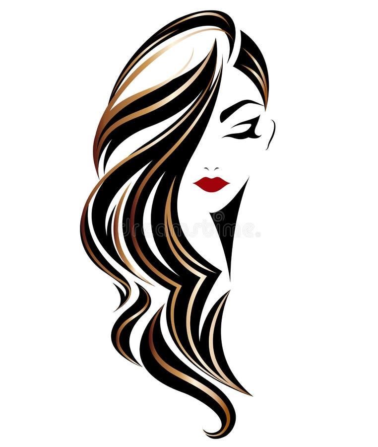 Icona lunga di stile di capelli delle donne, donne di logo su fondo bianco illustrazione di stock