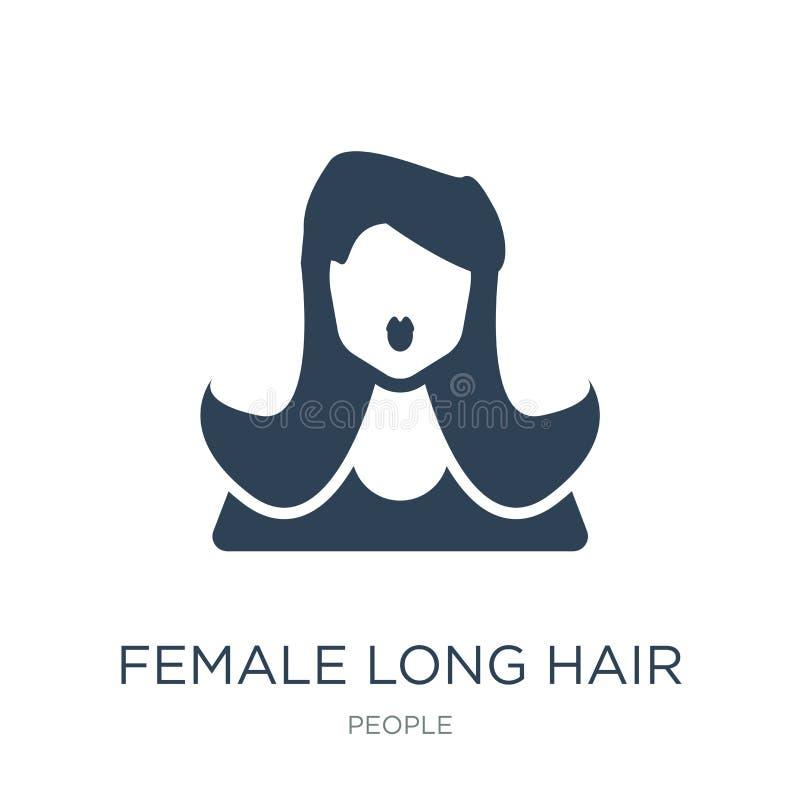 icona lunga femminile dei capelli nello stile d'avanguardia di progettazione icona lunga femminile dei capelli isolata su fondo b illustrazione vettoriale
