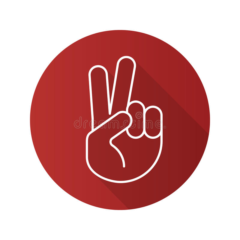 Icona lunga pianamente lineare dell'ombra di gesto di mano di pace illustrazione di stock