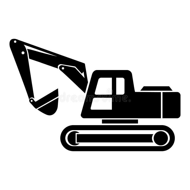 Icona a macchina di scavatura, stile semplice illustrazione di stock