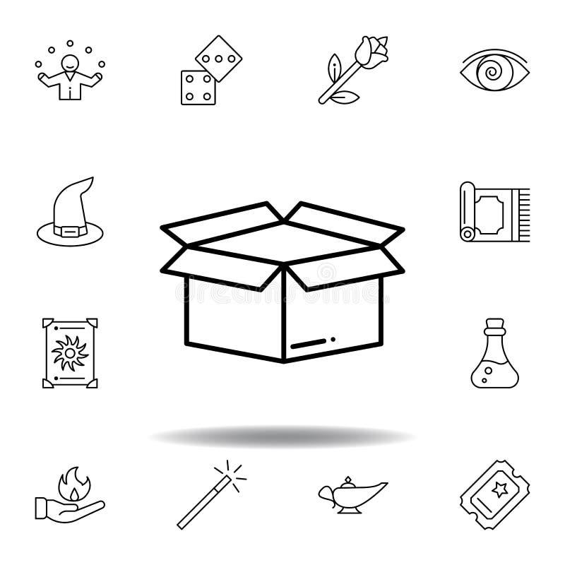 Icona magica del profilo della scatola elementi della linea magica icona dell'illustrazione i segni, simboli possono essere usati royalty illustrazione gratis
