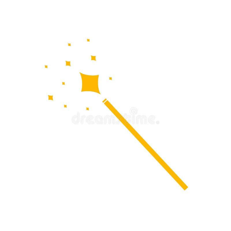 Icona magica della bacchetta di vettore, pittogramma giallo isolato, splendere magico illustrazione vettoriale