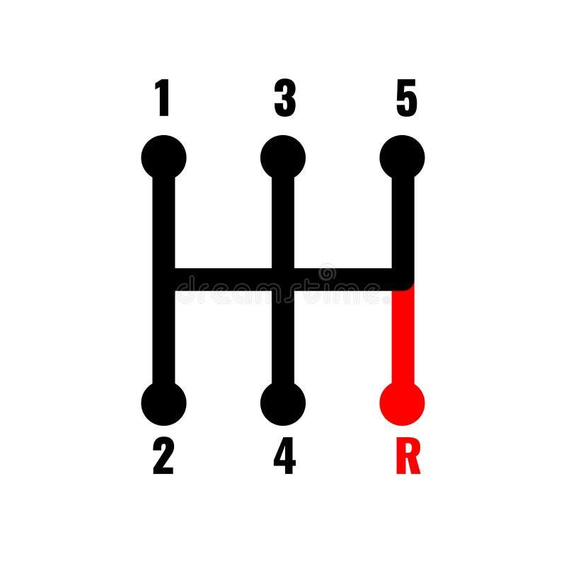 Icona manuale dello spostamento del cambio Progettazione creativa unica per la vostra maglietta Illustrazione di vettore royalty illustrazione gratis