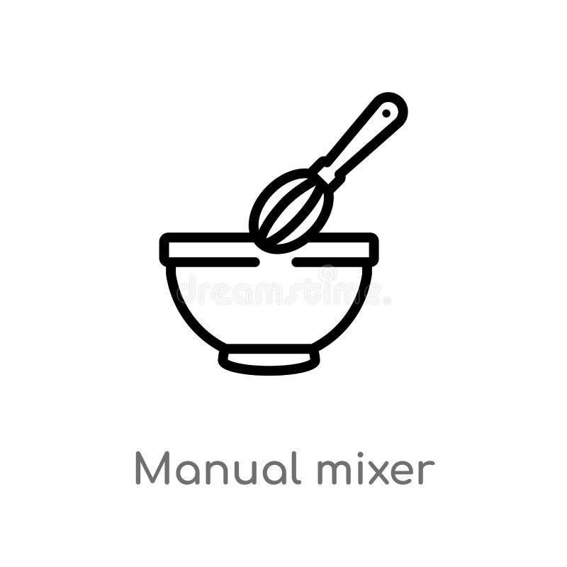 icona manuale di vettore del miscelatore del profilo linea semplice nera isolata illustrazione dell'elemento dal concetto del ris royalty illustrazione gratis